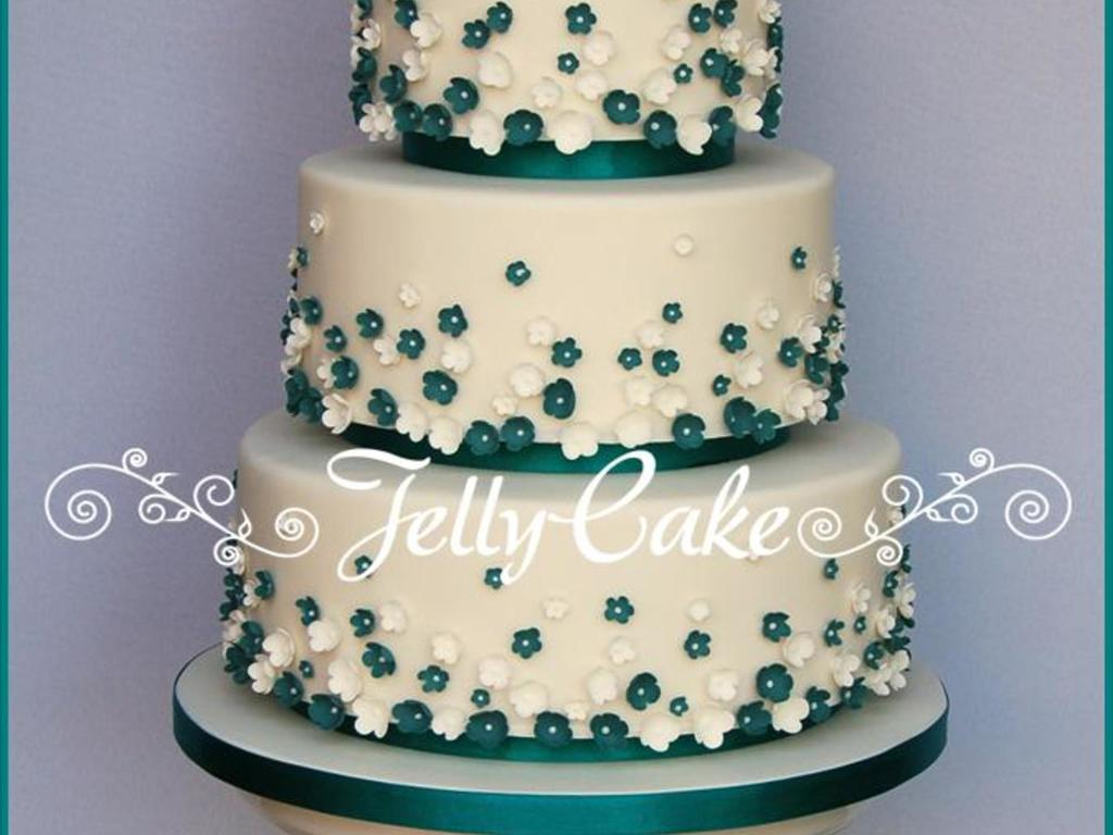 Teal Love Birds And Blossoms Wedding Cake - CakeCentral.com