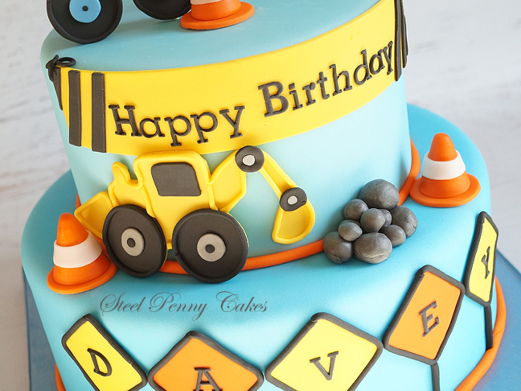 Enjoyable Construction Themed 2Nd Birthday Cake Inspired By The Party Decor Funny Birthday Cards Online Elaedamsfinfo