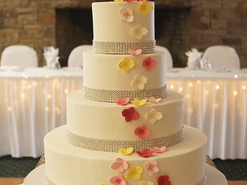Rhinestone Ribbon And Sugar Hydrangeas - CakeCentral.com