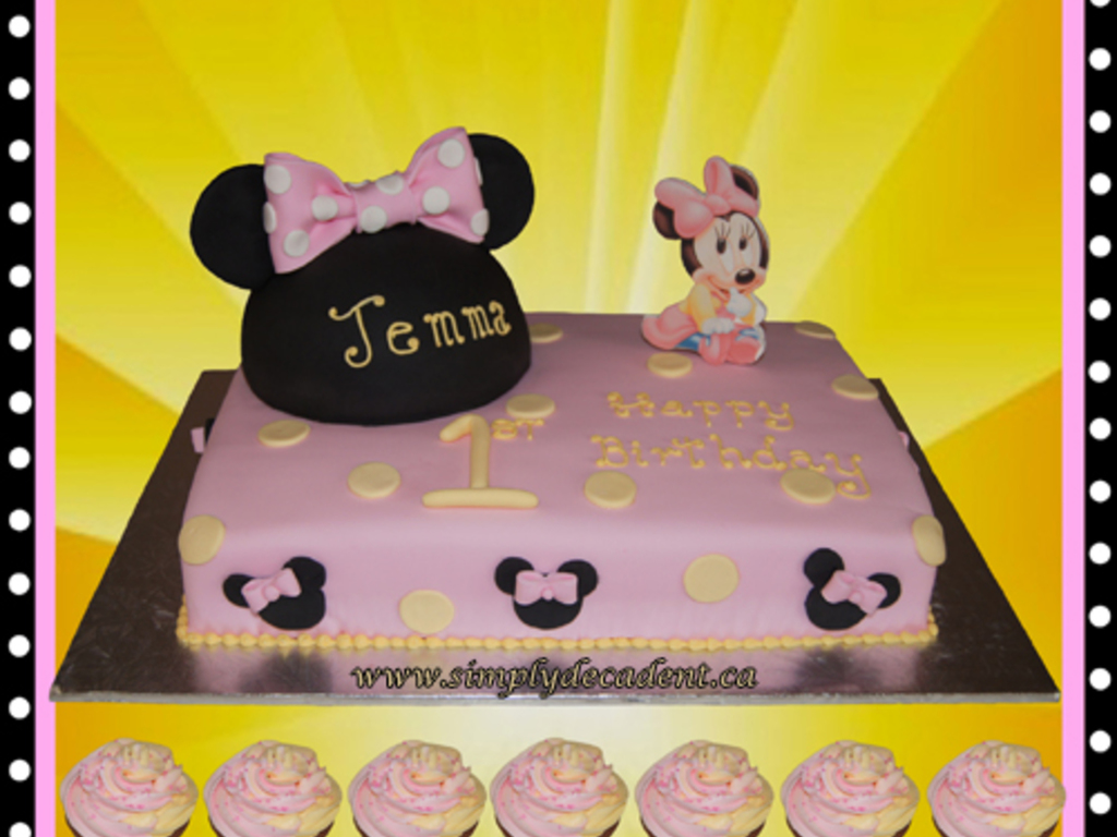 Disney Baby Minnie Mouse 1St Birthday Cake With Ears Hat And Cupcakes