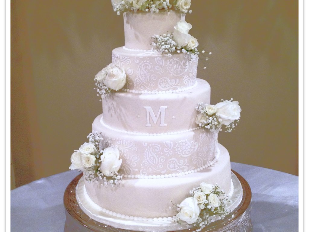 Fondant Wedding Cake With Royal Icing Mend Hi Lace Stencil And Fresh ...