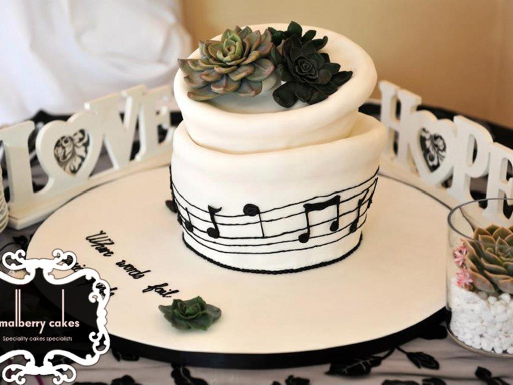 Echeveria And Music Themed Wedding Cake - CakeCentral.com