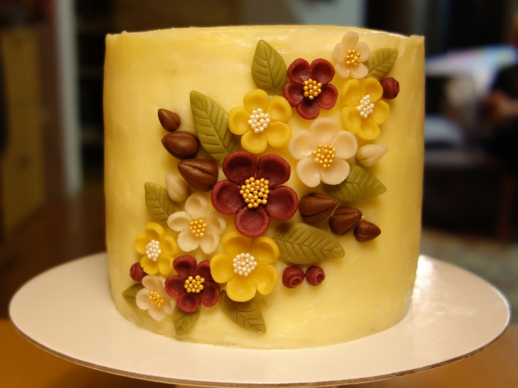 Marzipan Flowers (Hand Cut) On A Cake - CakeCentral.com