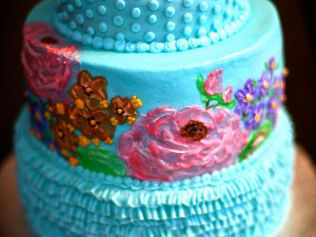 Birthday Cake For A Party Where The Theme Is Spring Flowers All Of Are Hand Painted On With Buttercream Entire Ca