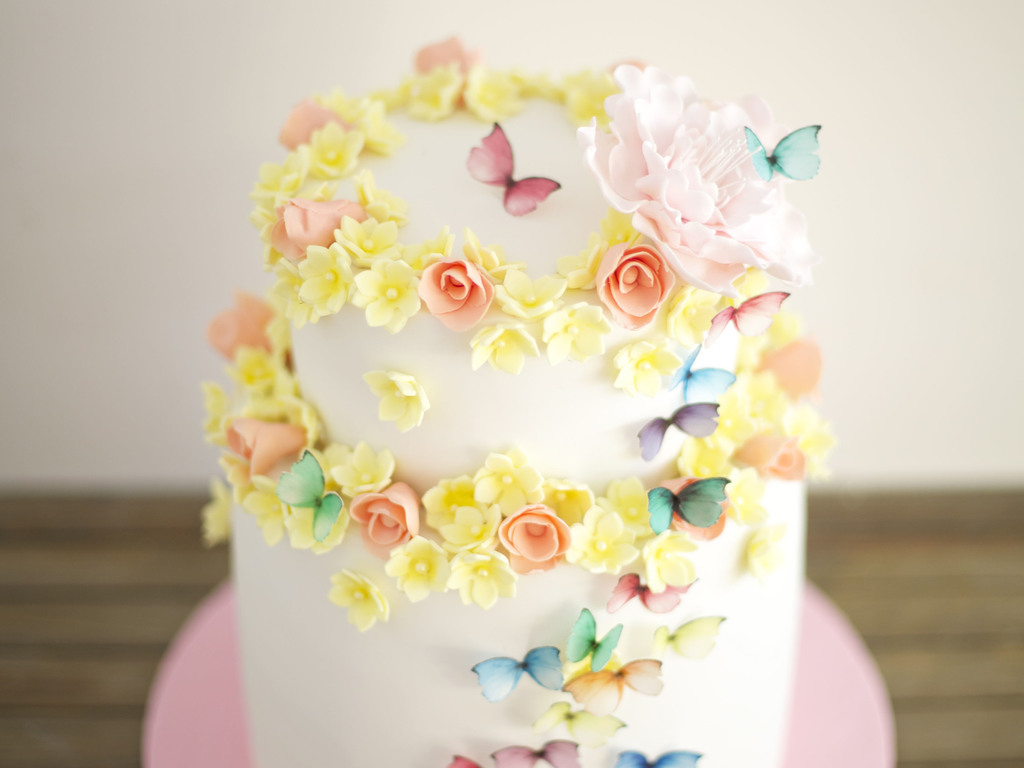 A Cake I Made For 50Th Birthday Butterflies Are Edible And All Flowers Were Handmade