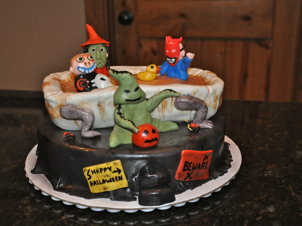 Halloween Party Cake With Characters From The Nightmare Before ...