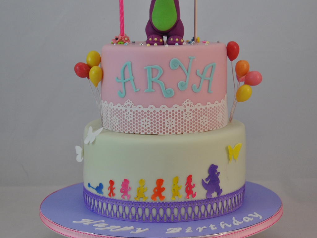 My First Time To Make Barney Theme Cake Chocolate With Buttercream Frosting Ganache And Mmf Balloons Were Made Fro