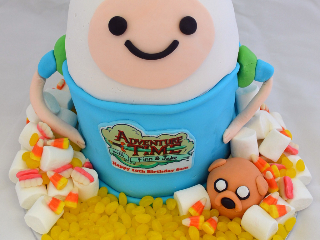 Adventuretime With Finn Jake Birthday Cake CakeCentralcom