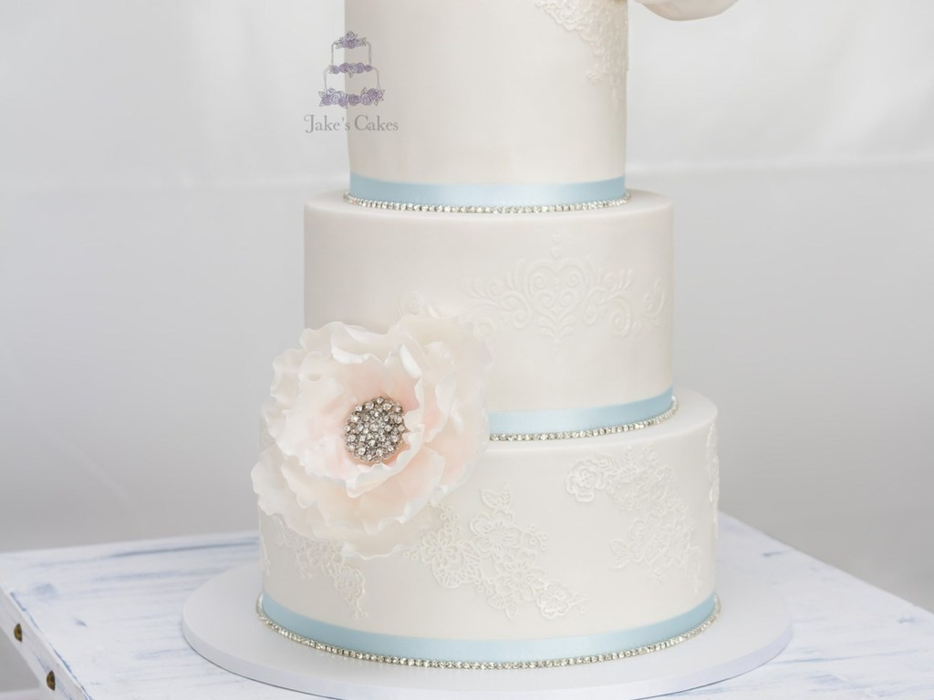 Lace Bling Wedding Cake - CakeCentral.com