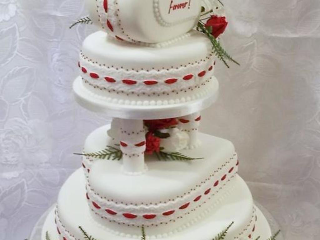 4 Tier Wedding Cake Red And Ivory Colour With A Heart Theme Edible