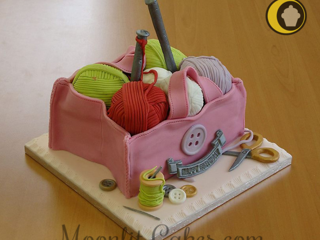 Knitting Cakes Images : Knitting bag birthday cake made for my boyfriends mum all items