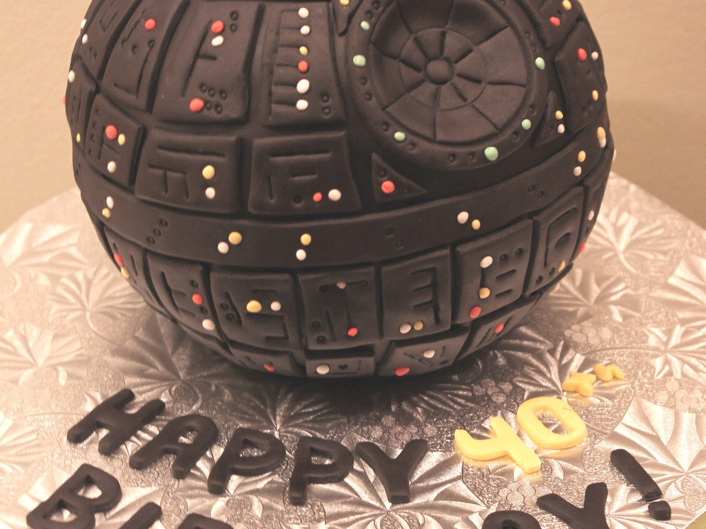Death Star Cake Covered In Fondant All The Lights Are Fondant As