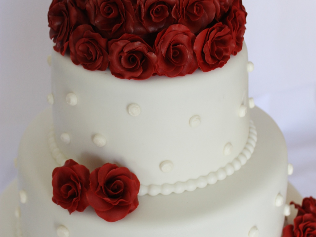 My First Wedding Cake Red Roses With Ball Border And Some ...