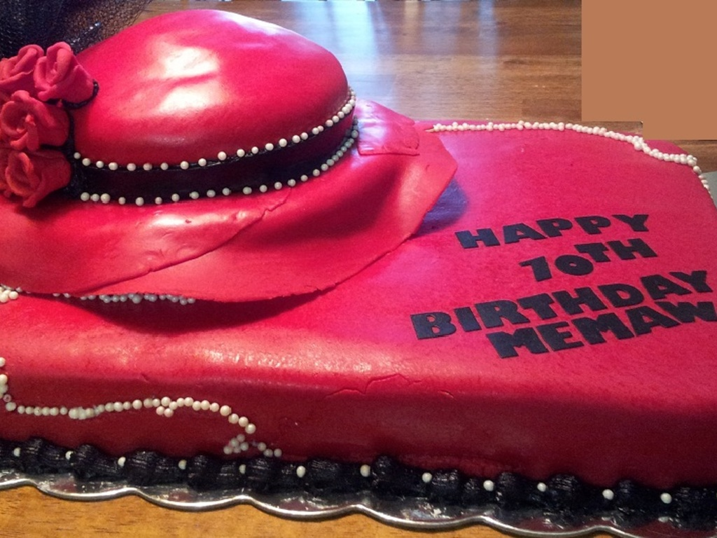 My Moms 70Th Birthday Cake This Was A Red Velvet Covered With Fondant Hat Made Rice Crispy Treats