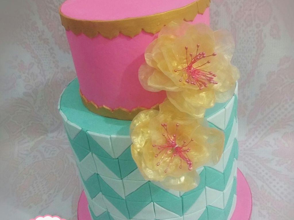 Pink and teal cake w chevron pattern and edible rice paper flower pink and teal cake w chevron pattern and edible rice paper flower cakecentral mightylinksfo