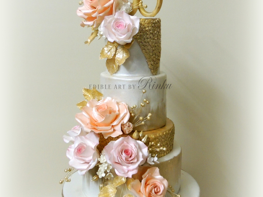 Th golden anniversary floral cake cakecentral