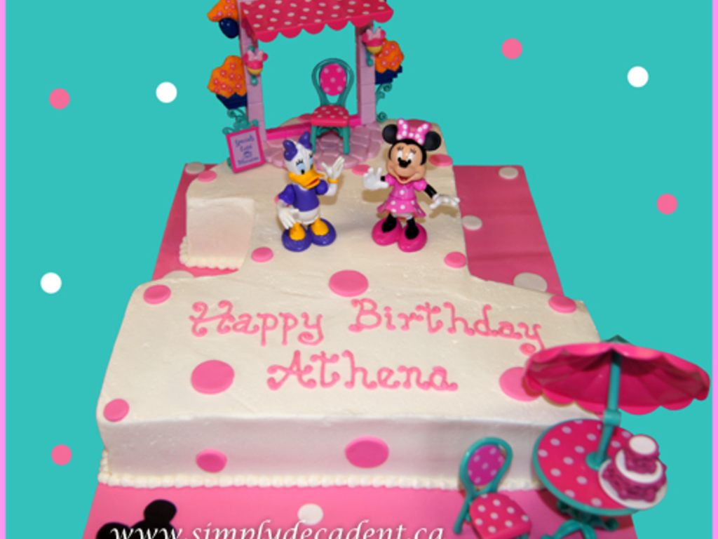 1 Minnie Mouse Daisy Duck Tea Party Birthday Cake