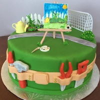 4 In 1 Birthday Cake! This cake was for 4 birthdays! Grandma (68) loves gardening, niece(20) loves art/painting, niece(11) loves soccer, and grandson(4) loves...