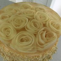 Apple Cake Apple cake with vanilla pastry cream and apple roses in jelly.