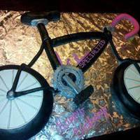 Bicycle Cake Made To Look Like Birthday Girls Real Bike Wheels Are Cake The Rest Is Rice Krispy Treats Covered In Fondant Bicycle cake made to look like birthday girl's real bike! Wheels are cake, the rest is rice krispy treats covered in fondant.