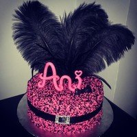 Pink And Black Sprinkle Cake With Feathers Letters And Bow Made Of Gumpaste Pink and black sprinkle cake with feathers. Letters and bow made of gumpaste.