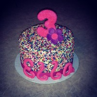 Small Sprinkle Cake For 3 Year Old Letters Number And Flower Made Out Of Gumpaste Small sprinkle cake for 3 year old. Letters, number and flower made out of gumpaste.
