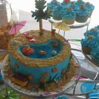Beach Themed Birthday Cake Water In The Middle Of Cake Is Blue Jello All Teddy Grahams Are Decorated With Swimsuits Glasses Snorkeling Beach themed birthday cake. Water in the middle of cake is blue jello. All teddy grahams are decorated with swimsuits, glasses, snorkeling...