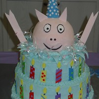 Pig Popping Out Of Cake   Surprise birthday party for a man that raises a few pigs.