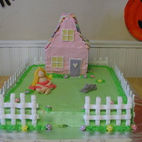 House Cake   Birthday cake with a house, cat, and little girl.