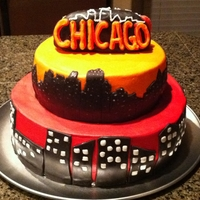 "Chicago Skyline Special cake for a sweet 16! 12"" and 9"" layers . . . Vanilla with vanilla creme filling, buttercream frosting. Chicago skyline..."