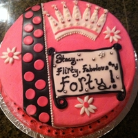 "Flirty, Fabulous, Forty! Birthday Cake Inspired by this cake by Achaviano http://cakecentral.com/gallery/1835927/fierce-fabulous-forty . Happy birthday cake: 10"" 2 layers,..."