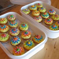 Spring Birthday Cupcakes Lemon Cupcakes with Citrus Cream Filling, and Lemon Cream Cheese Frosting