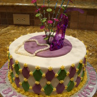 Sweet Sixteen Birthday Cake - Heels And Pearls 10 inch round, with buttercream icing, using fondant for pearls, and harlequin diamond pattern. This was a red velvet cake.