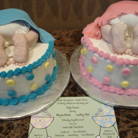 Baby Shower Cakes - Baby Bumps Baby shower cakes - 10 inch cakes, 6 inch for the baby bump, iced in buttercream, and fondant.