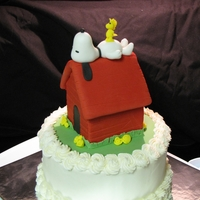 Snoopy Cake Snoopy themed topper made from fondant