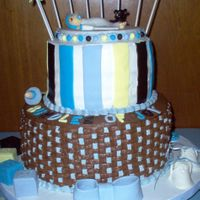 "First Baby Shower Cake 2 tier cake, 8 & 12 "". First time making gumpaste baby, booties, rattle, bottle, teddy bear & pacifier. Took a total of 32..."