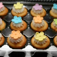 Mini Flower Cupcakes End of year party for my daughter's class. They have so many snacks that I decided on mini-cupcakes. Buttercream icing with fondant...