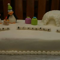 Penguin Cake Made for a little boy who loves penguins, Chilly Willy and pancakes. He thinks the cartoon of Chilly Willy eating pancakes is so funny....