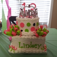 Lindsey's Birthday Cake 13th birthday cake for my niece. 3 layers for each tier and I did graduated colors for each tier. Round was 3 shades of green and the...