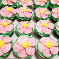 Flower Cup Cakes Buttercream flowers on cup cakes for my daughter to share at school today for her birthday.