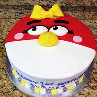 Miss Angry Bird Birthday Cake combination of buttercream and fondant decorations. For a first birthday party. The mom emailed me a similar cake design for this project...