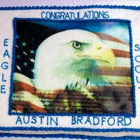 Boy Scouts Eagle Award Cake Edible image on buttercream.
