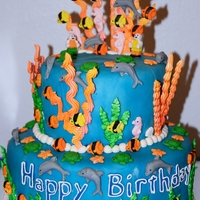 Lego Diver's Under The Sea Cake fish, turtles, shells, Lego Divers, etc molded out of fondant. Sea Weed and Coral made from royal icing then color mist sprayed three...