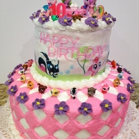 My Little Pet Shop And My Little Pony Birthday Cake Everything is buttercream except the royal icing purple flowers. Edible image on the top layer. All characters are toys. It was fun coming...