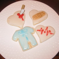 Hospital Cookies!  A client wanted me to make thank you cookies to take to his Dr. who had done his heart surgery! Wanted them to me fun and diffrent! Got...