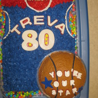 My Mother's 80Th Birthday Cake! My Mother's 80th birthday cake! No body loves sports and or basketball more than my mother. So this jersey cake with her name and 80...