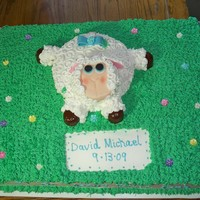Baptism Cake This was a full sheet marble cake with a yellow flavored lamb. All was frosted in Extra Special Buttercream with marshmallow fondant...