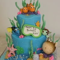 Finding Nemo I could not find who created the original of the inspiration cake. Everything is edible except for Bloat. He's a Styrofoam ball...