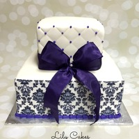 Square Wedding Cake With A Damask Edible Image Print Square wedding cake with a damask edible image print.