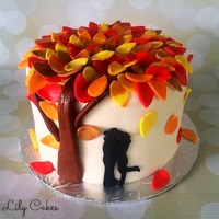 Fall Themed Cake To Celebrate A Couples 1St Anniversary Fall themed cake to celebrate a couple's 1st anniversary!